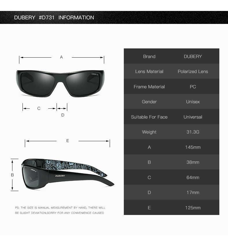 DUBERY männer Polarisierte Sonnenbrille Angeln Fahren Marke Design Männlich Kühlen Sonne Glas Für Männer Nachtsicht Brillen Shades UV400