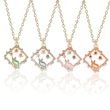 New Fashion Creative Alloy Pendant DIY Enamel Handmade Jewelry Hollow Necklace Starry Moon Rabbit Sweet Girl Gift Dropshipping