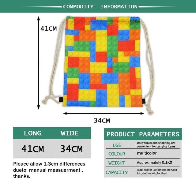 Nopersonality 3d Animal Shark Print Drawstring Bag for Women Cool Kids Girls Backpack Mini School Bagpack Storage Backbags