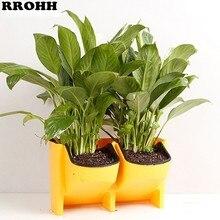 4 색 stackable wall hanging planter 꽃 냄비 정원 꽃 냄비 벽 수직 succulents 식물 냄비 분재 녹색 홈 장식
