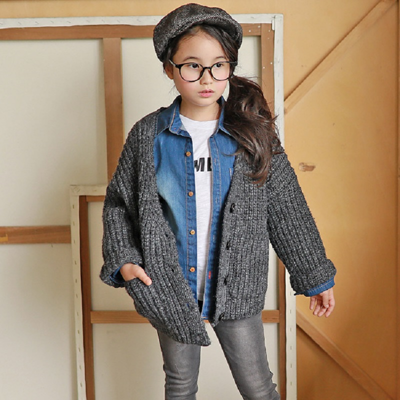 New 2017 Girls Baby Thicken Sweater Kids Cardigan Children Fashion Sweaters Baby Clothes Toddler Coat,3-12Y,#2330 t100 children sweater winter wool girl child cartoon thick knitted girls cardigan warm sweater long sleeve toddler cardigan