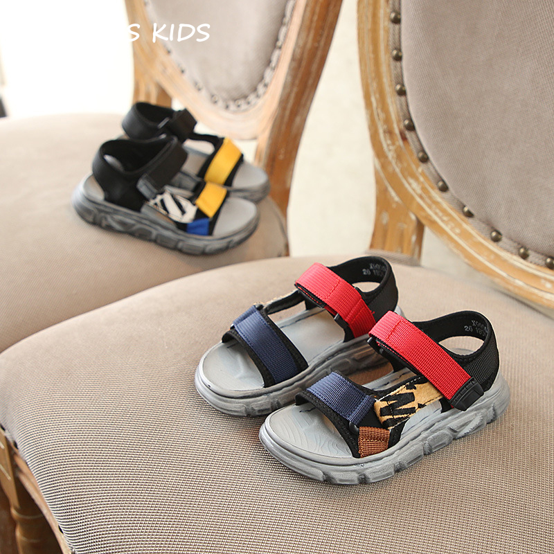 Kids Sandal Shoes 2019 Summer Girls Fashion Mixed Color Sandals Boys Beach Ribbon Flats Children Baby Soft Barefoot Shoes BS245