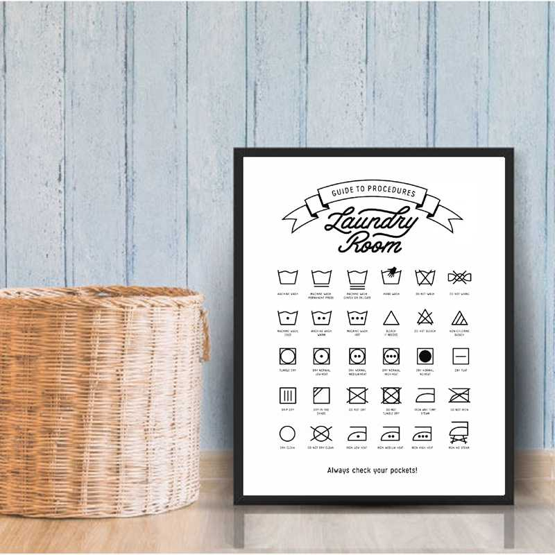 Laundry Room Decor Laundry Symbols Sign Wall Art Canvas Painting Laundry Guide to Procedures Poster And Print Wall Picture