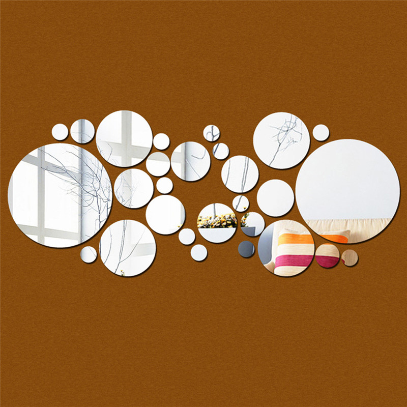 30pc/set DIY Small Round Point Acrylic Mirror Effect Sticker Wall Sticker Mirror Surface Wall Stickers Home Decoration 2 Colors
