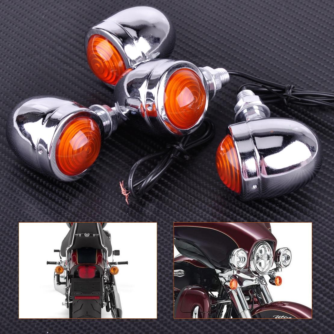 CITALL Motorcycle 4x Silver Chrome Plate Bullet Turn Signal Light Indicator font b Lamp b font