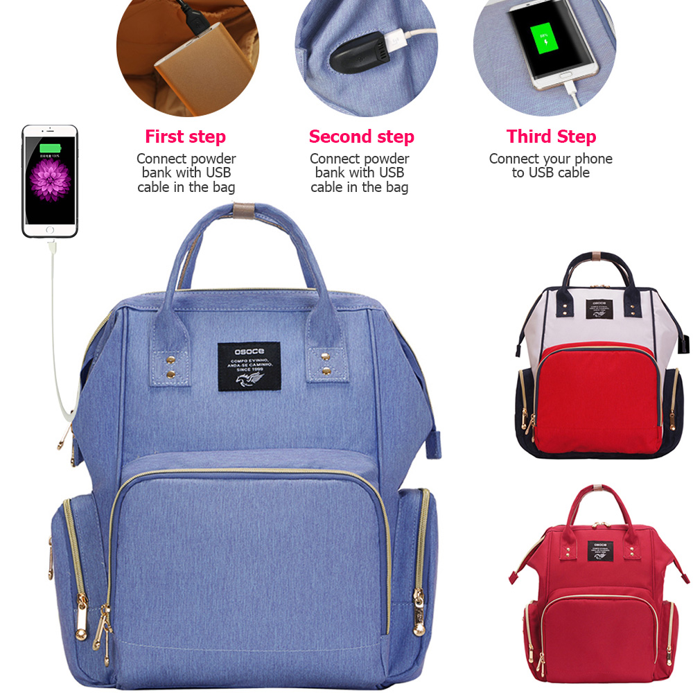 2018 Baby Diaper Bag With USB Charging Port Waterproof Large Capacity Mummy Nappy Bag Baby Bag Travel Backpack Stroller Bag