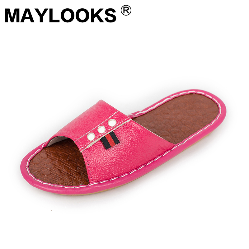 Ladies Slippers Spring And Summer genuine Leather Home Indoor Slip Non-slip Slippers 2018 New Hot Haisum Tb018 ladies slippers summer genuine leather linen woven breathable home indoor non slip slippers 2018 new hot haisum tb010