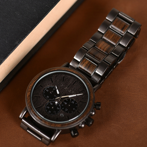 BOBO BIRD Date Display Wood Watches Luxury Stylish Watch Wood  Metal Strap New Design Timepieces C-Q26-1 Lahore