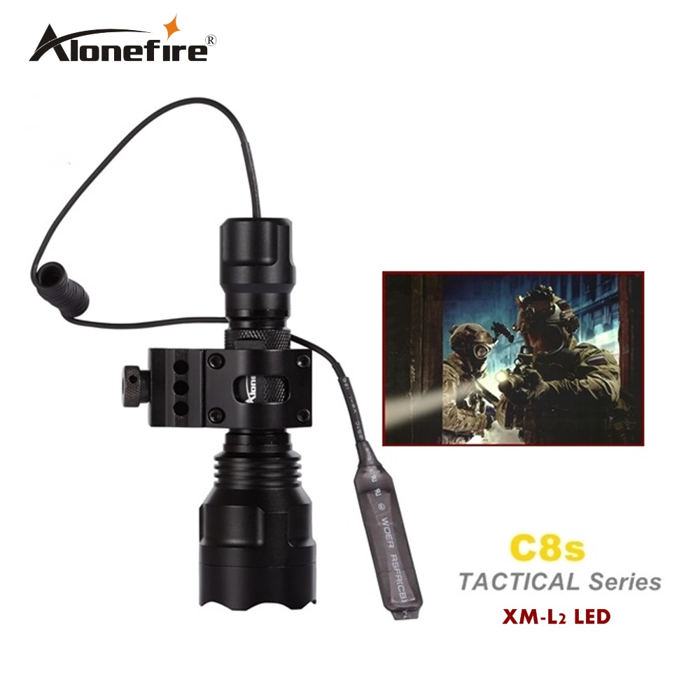 C8 Tactical Gun Flashlight Torch 2200LM CREE XM-L2 LED 5 Modes LED Flash Light Lanterna+scope Mount+remote switch nitecore mt10a 920lm cree xm l2 u2 led flashlight torch