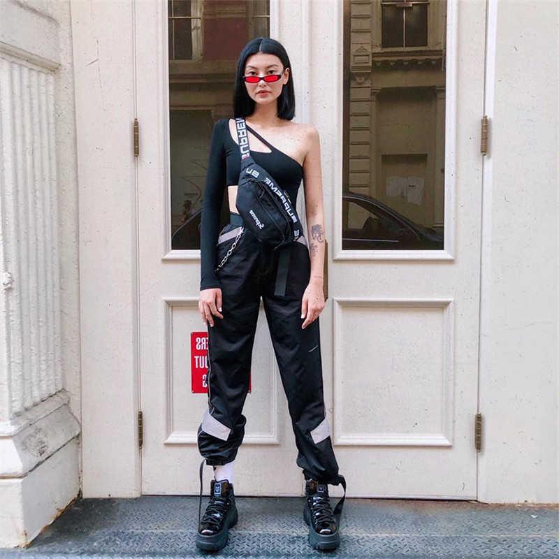 Мешковатые Светоотражающие Брюки Блестящие спортивные брюки атласные джоггеры женские блестящие брюки хип-хоп спортивные брюки Paperbag Высокая талия уличная