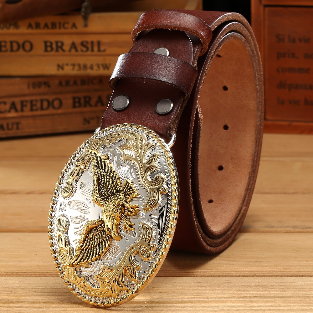 Gold Eagle Belt Big Buckle Full Grain Real Leather 100% Genuine Leather Hawk Mens Belts Luxury High Quality Camel Brown Cowboys