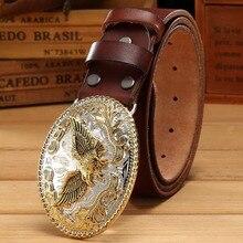 Cinturón de águila de oro hebilla grande de grano completo de cuero real  100% cuero genuino hawk hombres cinturones de lujo de a. 441d0f294cc3