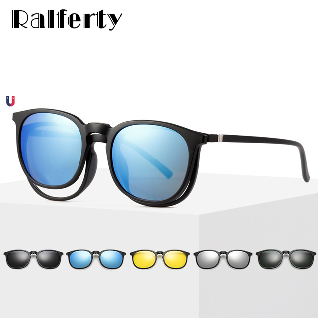 23baca48ca Ralferty 5 In 1 Multi-Clip Ultra-Light TR90 Magnetic Polarized Clip On Sunglass  Women Round Sunglases Eyewear Sun Glasses A8805
