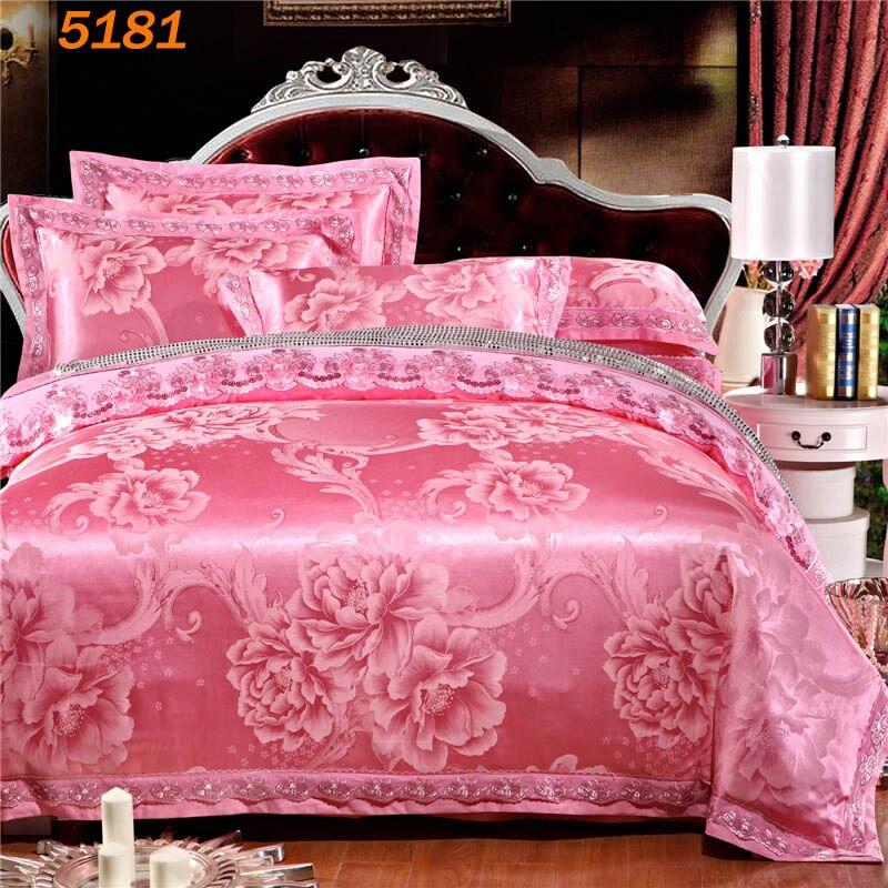 flowers pink silk bedding set wedding queen silk linen king size silk beddingset duvet cover cotton bed sheet