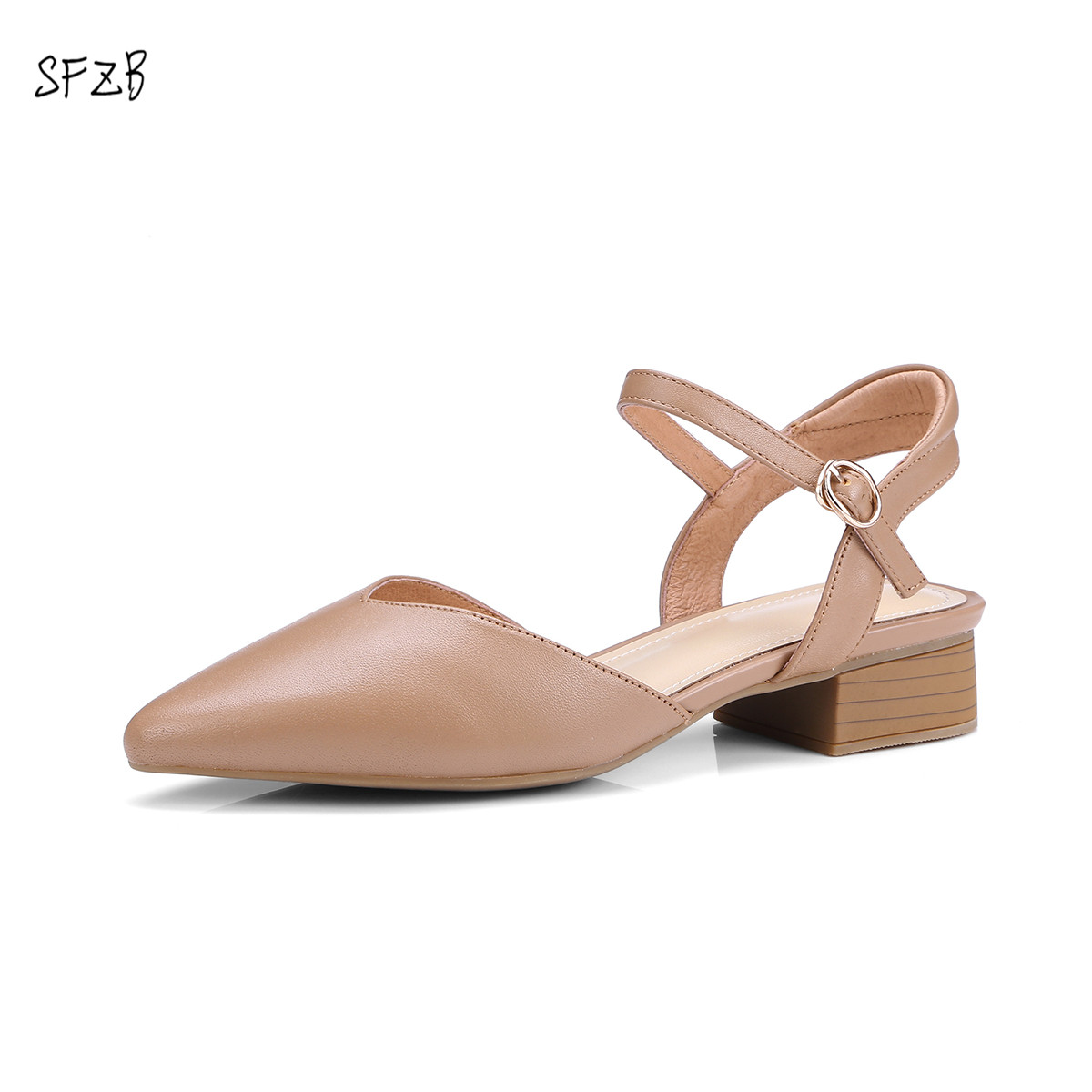 SFZB Shoes Soft Leather Square Heels For Summer Basic Causal Style Handmade Quality Shoes For Woman Size 35-40
