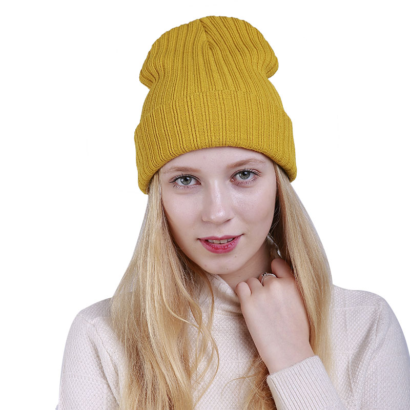 New Winter Hats Unisex Women's Cotton Solid Warm Hat HIP HOP Knitted Cap For Men Women Caps Candy Color   Skullies     Beanies
