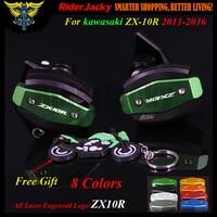 Laser Logo CNC Green Red Motorcycle Frame Slider Anti Crash Protector For Kawasaki ZX10R ZX 10R