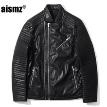 Aismz Motorcycle Leather Jackets Men Brand-Clothing Slim PU male leather jacket casaco masculino jaqueta de couro masculino 8808