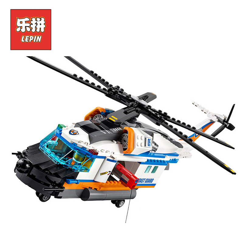 New LEPIN 02068 City Series Heavy Rescue Helicopter set Model & Building Blocks Bricks Children Educational Toys 60166 Gift Boy lepin 02012 774pcs city series deepwater exploration vessel children educational building blocks bricks toys model gift 60095