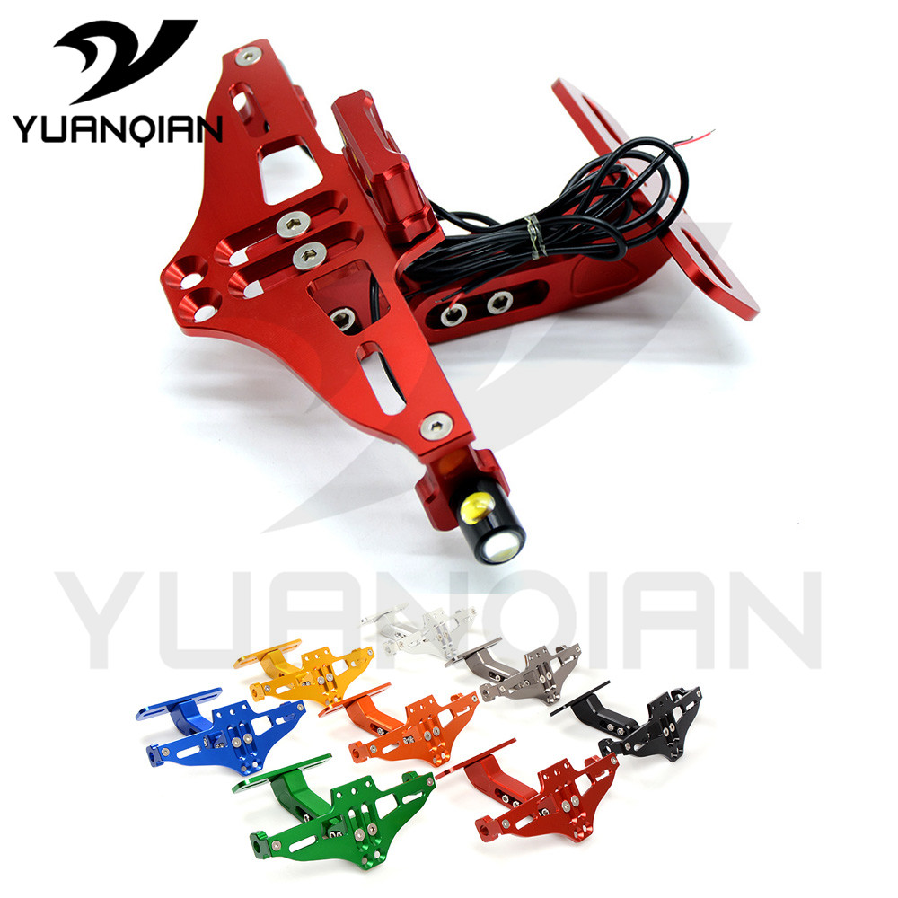 Support universel de plaque d'immatriculation de moto CNC cadre de plaque d'immatriculation en aluminium avec lumière pour yamaha MT-01 mt07 YZ250 XT250