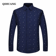 QIHUANG Men Long Sleeved Printed Shirts Casual Plus Size Male Business Dress Shirt 2018 Brand Men Clothing Soft Comfortable