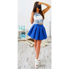 Summer Dress Women Boho Beach Sleeveless Casual Dresses Party Short Mini Dress Two Piece Women Clothing LJ9084R