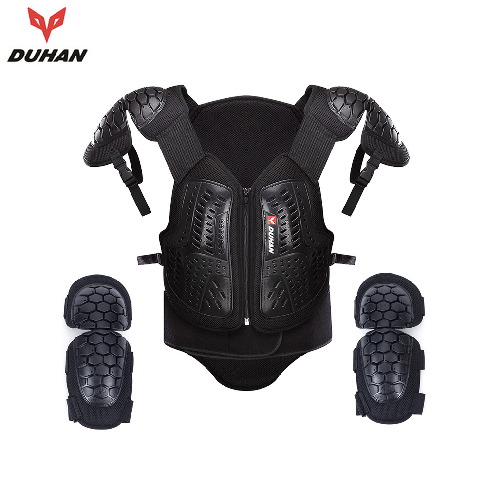 DUHAN Motorcycle Racing Body Armor Jackets Waistcoat Motorbike Riding Protector Vest Chest Protective Gear Elbow Pads Jacket herobiker armor removable neck protection guards riding skating motorcycle racing protective gear full body armor protectors