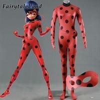 The Miraculous Ladybug Cosplay Costume Halloween Costumes Cosplay Marinette Ladybug Costumes Suit Spandex Jumpsuit Eye Mask