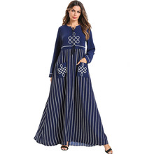 цена на Navy Blue Striped Long Dress Women Long Sleeves Losse Embroidery Bohemia Dress Ladies Elengant Lace Up Maxi Dresses Muslim Robe
