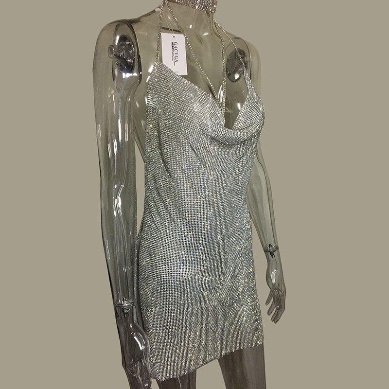 GACVGA 2019 Kristal Metal Halter Parlayan Yay Don Qadın Çimərlik - Qadın geyimi - Fotoqrafiya 2