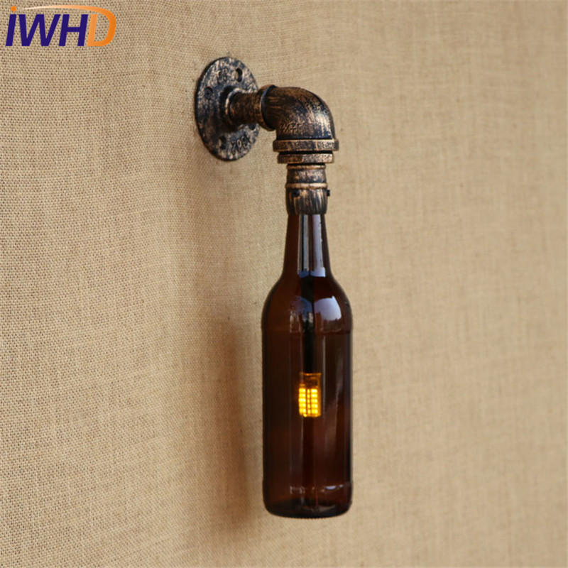 IWHD Loft Style Retro Iron Bottle Water Pipe Wall Lamp Sconce Industrial Vintage LED Wall Light Fixtures For Indoor Lighting iwhd water pipe loft industrial vintage led wall lamp iron water pipe wall lights wall sconces fixtures for indoor home lighting