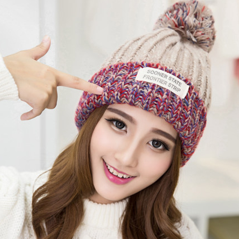 34f56c71493 2018 New Fashion Woman s Striped Beanies Hat Autumn Winter Knitted Warm  Wool Casual Girl s Cap For Woman Skullies   Beanies-in Skullies   Beanies  from ...