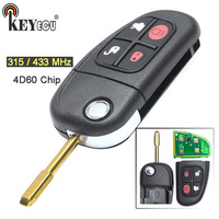 KEYECU 315/ 433MHz 4D60 Chip Replacement 4 Button Flip Floding Remote Key Fob for Jaguar S Type X Type XJ8 with Blade