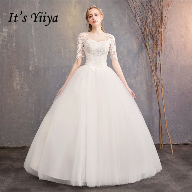 es yiiya vestidos de novia 2019 simple bordado o cuello media manga
