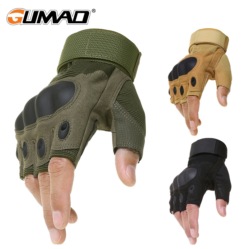 Outdoor Tactical Fingerless Gloves Military Army Shooting Hiking Hunting Climbing Cycling Riding Airsoft Half Finger Gloves oumily the second generation outdoor tactical half finger gloves gray black size xl pair