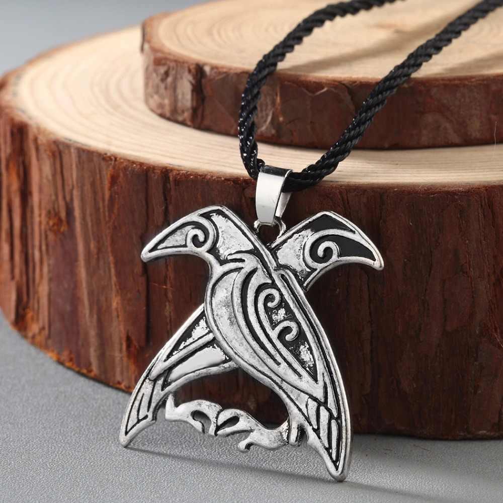 CHENGXUN nowy projekt Valknut Pagan Amulet naszyjnik Norse Viking mitologia biżuteria Odin's kruki wisiorek ptak talizman naszyjnik