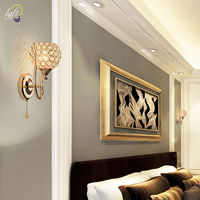 Modern Crystal Wall Light Pendent Lamp Chrome Finish Bedroom Sconce Lighting Fixture Pull Cord Switch, E27 Socket