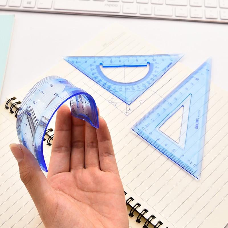 Colorful Transparent Soft Plastic Flexional Ruler Set Straight Ruler Triangular Ruler School Supplies Deli 6204