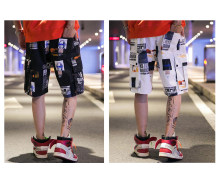 Men's Casual Street Fashion Shorts, Summer Cargo Short Pants for Adolescents and Young Boys, Hip Hop Stylish Printing Shorts(China)