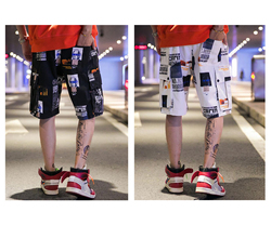 Men's Casual Street Fashion Shorts, Summer Cargo Short Pants for Adolescents and Young Boys, Hip Hop Stylish Printing Shorts