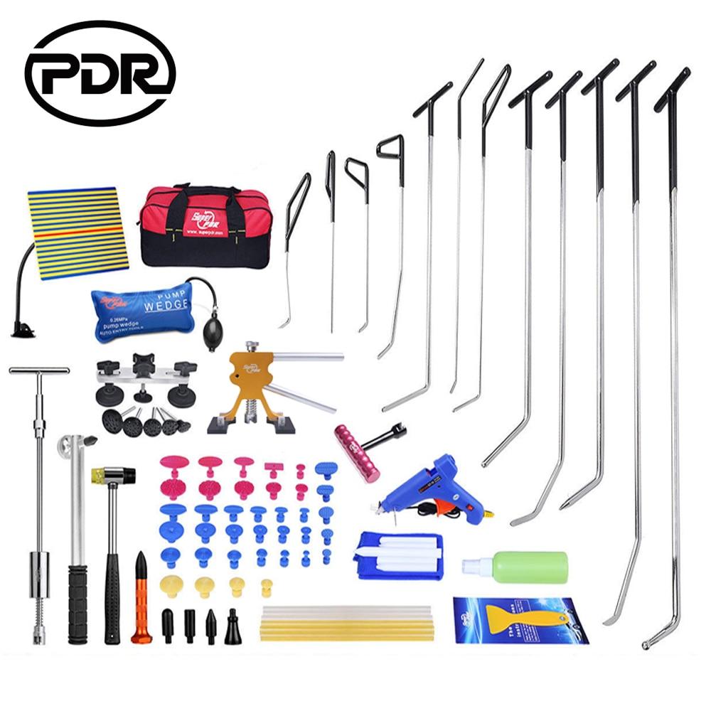 Kit di strumenti PDR Ganci di riparazione per ammaccature senza vernice Aste di spinta Martello inverso Sollevatore di ammaccature Estrattore per rimuovere Riparazione di ammaccature auto Danni alla grandine