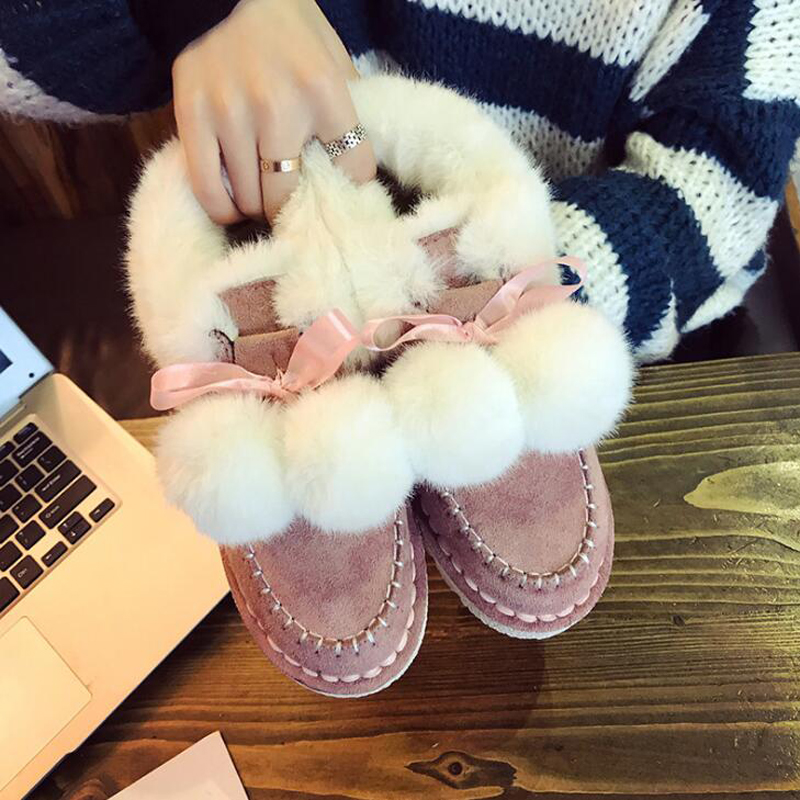 Women ankle boots 2018 fashion hairball women boots warm plush winter shoes non-slip women snow boots botas de mujer superstar women s snow boots add plush fashion warm shoes tube in warm winter mujer shoes flat ankle botas woman zapatos 444