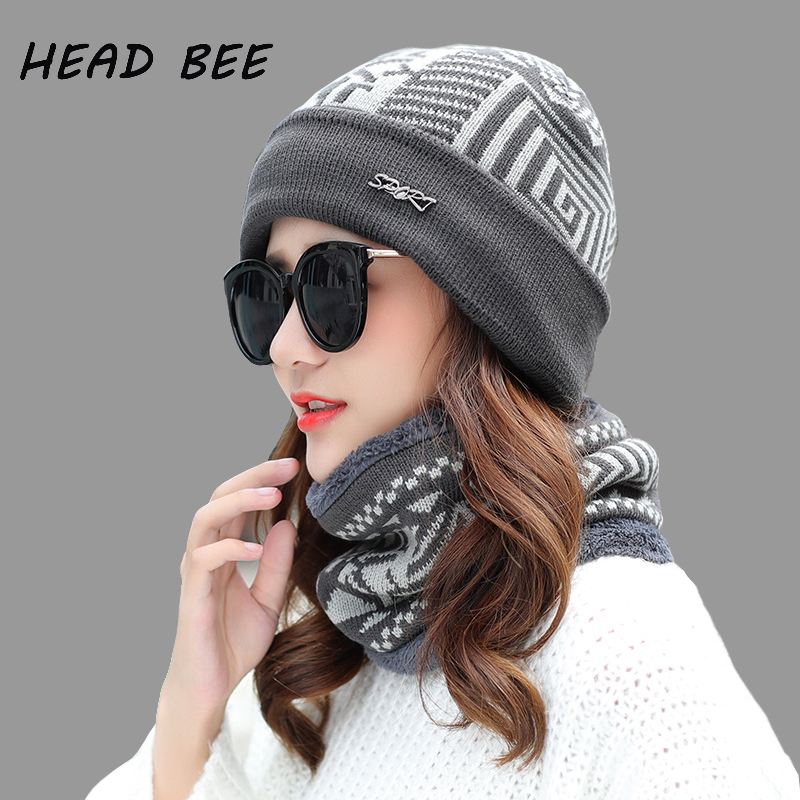[HEAD BEE] Brand Beanies Hat Cotton Print Lady Winter Cap Adult Warm Thicken Knitted Hat Women Bonnet Hat 2017 Skullies Set аккумуляторная ударная дрель шуруповерт bosch psb 10 8 li 2 без аккумулятора и з у 0 603 983 902
