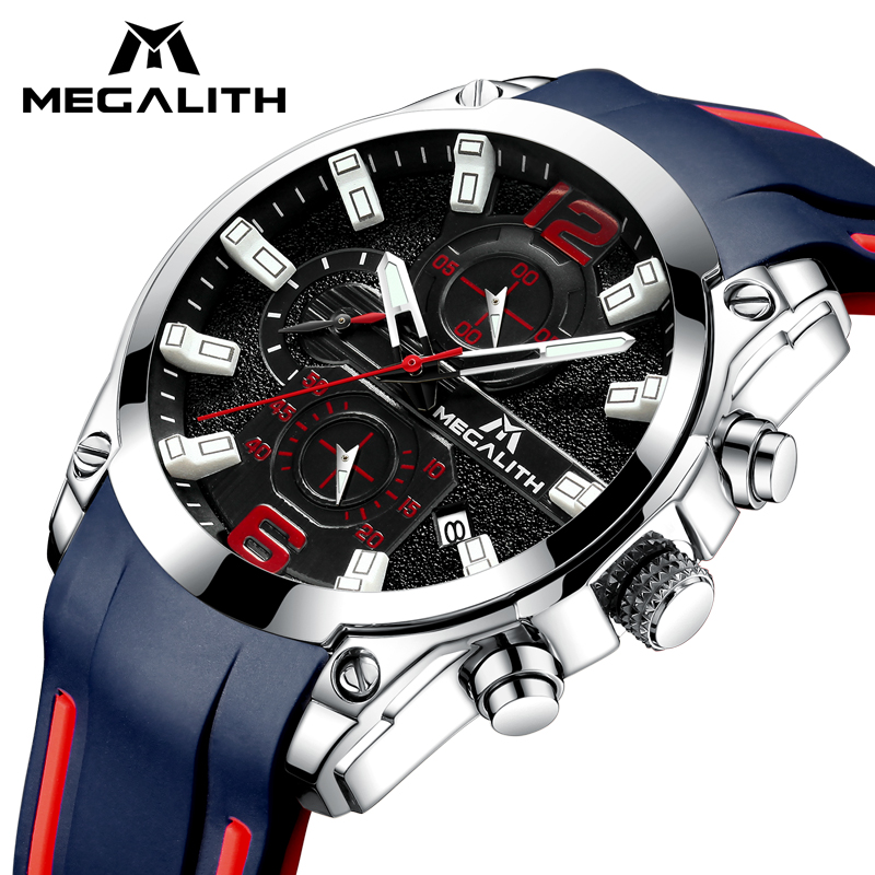 MEGALITH Sports Watch Men's Chronograph Analog Quartz Watch With Waterproof Date Silicone Rubber Strap Wristswatch For Man Clock все цены