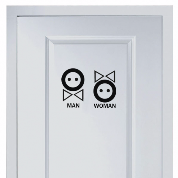 Cute button marks for men and women\'s toilet sticker Fashion for ...