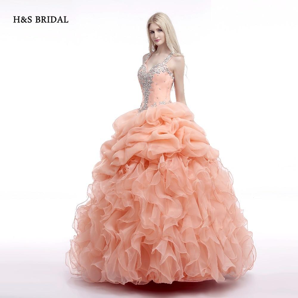 H & s braut rosa organza ballkleid prom kleider pailletten perlen ...