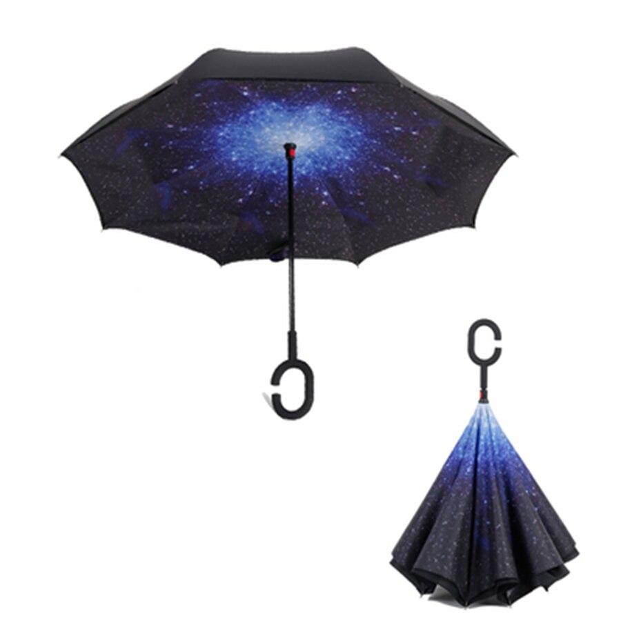 Étoile inversée haute qualité parapluie créatif Double couche pluie parapluies Parasol Tuin paraguay Poncho Zont ensoleillé parapluie 60D0288