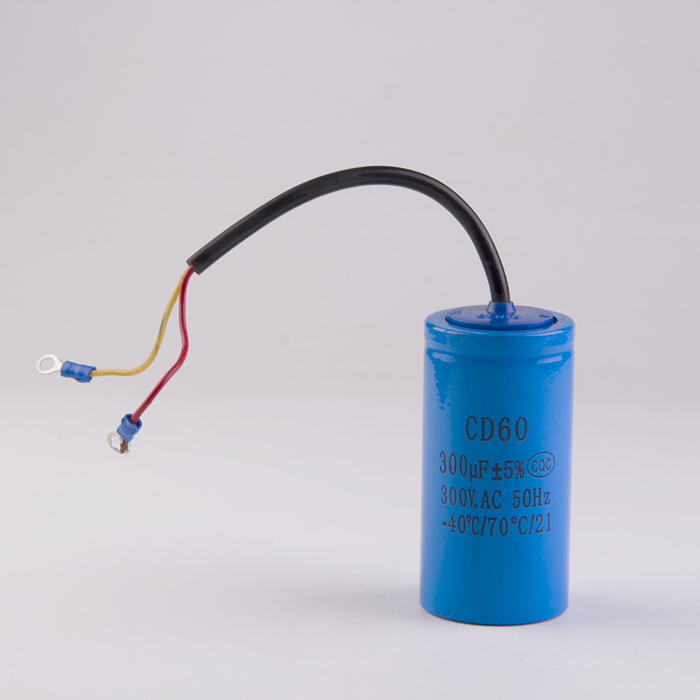 Starting capacitor two wires cd60 300uf 300v heavy duty for Start capacitors for electric motors
