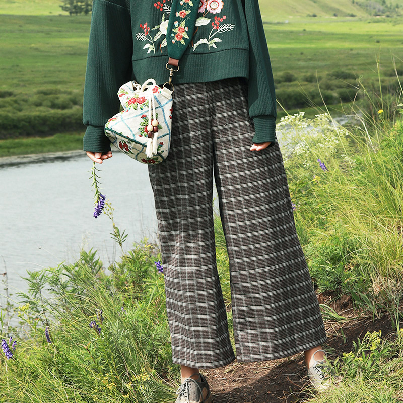 MX229 New Arrival Autumn 2017 high waist vintage plaid wide leg   pants     capris   women