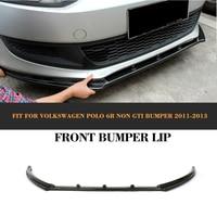 Carbon fiber auto car front bumper lip spoiler for Volkswagen VW POLO 6R Hatchback 2011 2012 2013 R style Non GTI